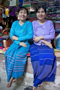 I bought my longhi from these to lovely ladies, who are big fans of Aung San Suu Kyi and have great hopes for change.