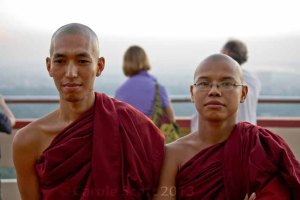 The monk on the right - super chatty; the monk on the left - not so much