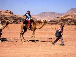 On a camel back in my tour leader days...