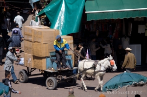 We had no idea how this cart had fitted into the souks in order to emerge from them!